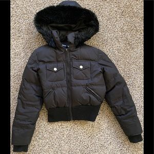 Black Down Feather Puffer Jacket Coat Small